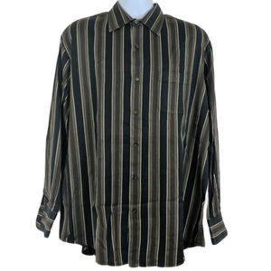 Tasso Elba Size L Button Up Shirt Casual Striped